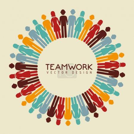 Illustration pour Dessin de travail d'équipe sur fond beige illustration vectorielle - image libre de droit