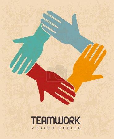 Illustration pour Dessin de travail d'équipe sur fond rose illustration vectorielle - image libre de droit
