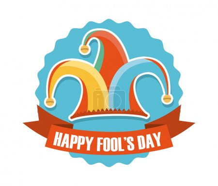 Illustration for April fools day over white background vector illustration - Royalty Free Image