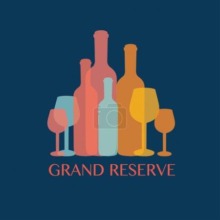 Illustration pour Dessin de vin sur fond bleu illustration vectorielle - image libre de droit