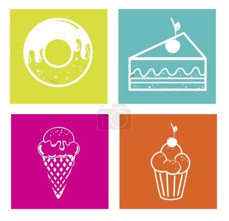 Illustration pour Conception de bonbons sur fond coloré illustration vectorielle - image libre de droit