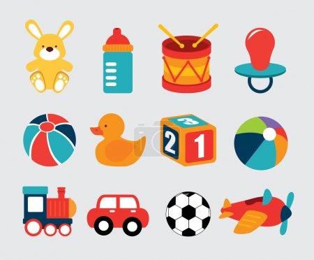 Illustration pour Jouets pour bébés sur fond gris illustration vectorielle - image libre de droit