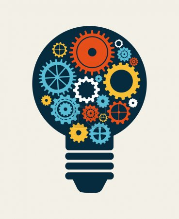 Illustration for Light bulb with gears, Industry concept - Royalty Free Image
