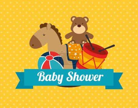 Illustration pour Conception de douche de bébé sur fond pointillé illustration vectorielle - image libre de droit