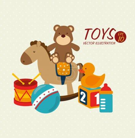 Illustration pour Conception de jouets pour bébé sur fond beige illustration vectorielle - image libre de droit