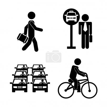Ilustración de Diseño de transporte sobre fondo blanco, ilustración vectorial - Imagen libre de derechos