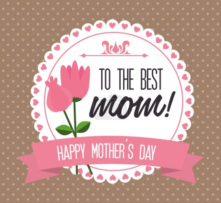 Illustration for Mothers day design over dotted brown background, vector illustration - Royalty Free Image