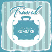 Travel icon over blue background with suitcase vector illustration