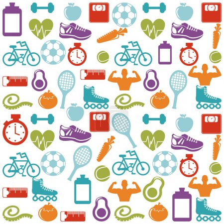 Illustration for Fitness and sports design over pattern background, vector illustration - Royalty Free Image