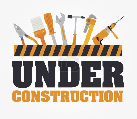 Illustration for Under construction design over gray background, vector illustration - Royalty Free Image