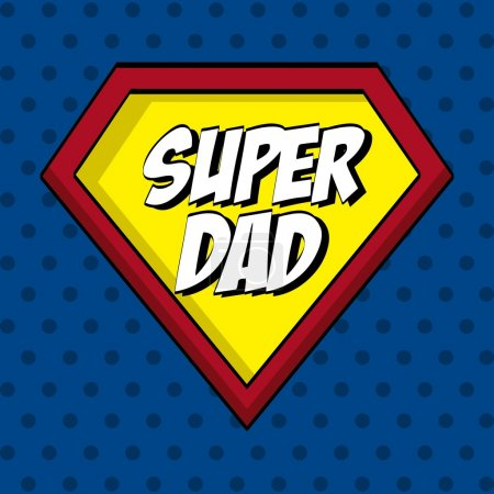 Illustration for Fathers day design over blue dotted background, vector illustration - Royalty Free Image