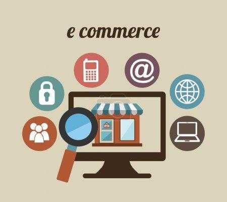 Illustration for E-commerce design over beige background, vector illustration - Royalty Free Image