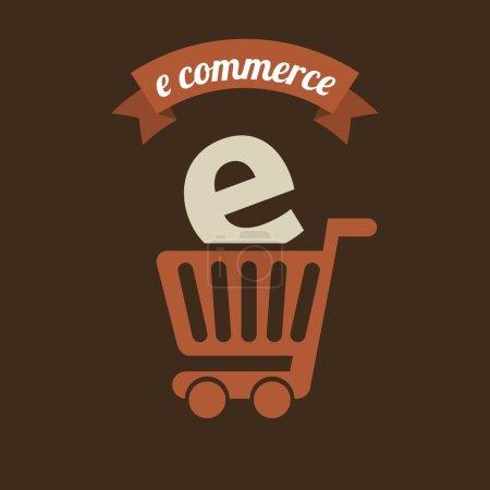 Illustration for E-commerce design over brown background, vector illustration - Royalty Free Image