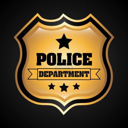 Illustration pour Conception policière sur fond noir, illustration vectorielle - image libre de droit