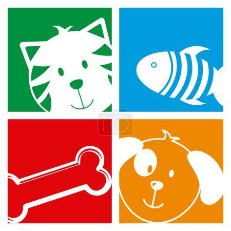 Illustration pour Animaux de compagnie conception sur fond blanc illustration vectorielle - image libre de droit