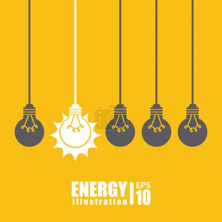 Illustration for Bulb design over yellow  background vector illustration - Royalty Free Image