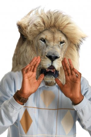 Lion Calling on Man's Body Concept