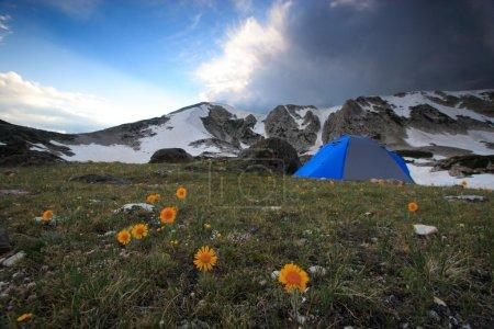 Photo pour Tente dans le paysage montagneux du Wyoming - image libre de droit