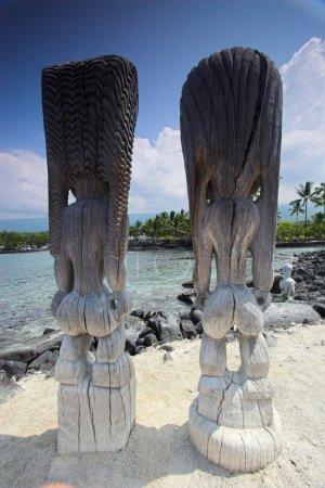 Photo pour Statues en bois d'idoles debout sur le rivage sablonneux à Hawaï - image libre de droit