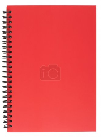 Photo for Red Covered Spiral Bound Notepad Isolated on White - Royalty Free Image