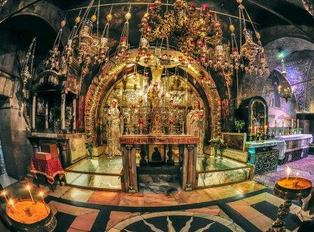 Photo pour Autel érigé sur le lieu de la crucifixion de Jésus christ. - image libre de droit