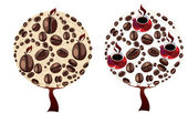 Coffee beans and coffee cups trees