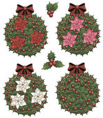 Clip art set of Christmas holly decorative elements