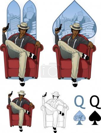 Queen of spades afroamerican mafioso woman Mafia card set