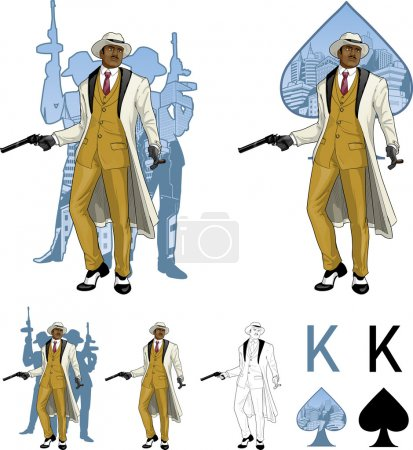 King of spades afroamerican mafioso godfather with crew silhouettes Mafia card set