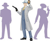 Caucasian police chief and people silhouettes