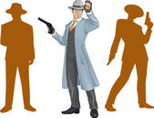 Asian police chief and people silhouettes