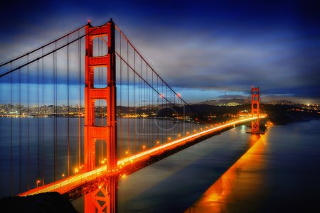 Photo for Famous Golden Gate Bridge, San Francisco at night, USA - Royalty Free Image