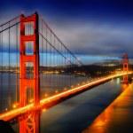 Famous Golden Gate Bridge, San Francisco at night,...