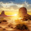 Sunset at the sisters in Monument Valley, USA...