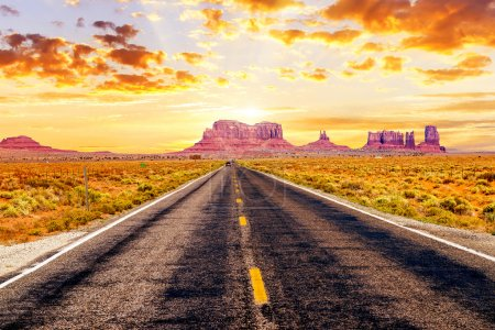 Photo for Famous long road in front of Monument Valley, USA - Royalty Free Image
