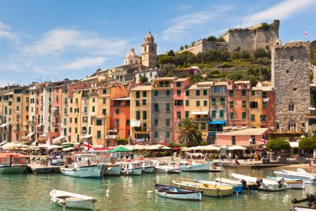 View of town Portovenere from sea, Italy. Summer l...