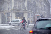 Grenoble, France at Winter Snowstorm
