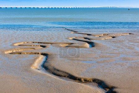Photo for Tagus river sand bottom and Vasco da Gama Bridge as background. Horizontal shot - Royalty Free Image