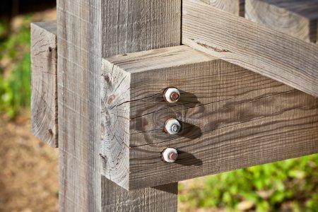 Photo pour Cadre de poutre en bois gros plan. Image horizontale - image libre de droit