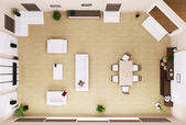 Living room interior top view 3d render