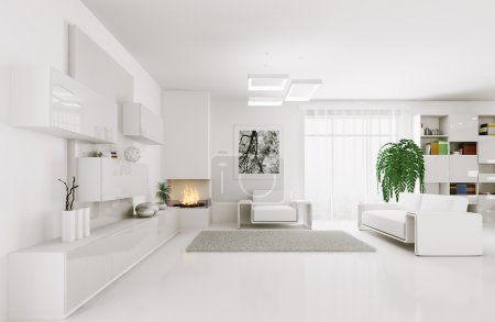 Photo for Interior of modern white living room 3d render - Royalty Free Image