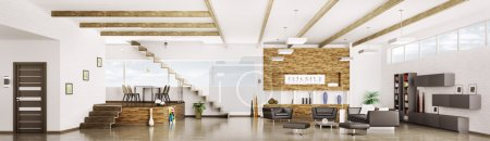 Photo for Interior of modern apartment living dining room hall panorama 3d render - Royalty Free Image