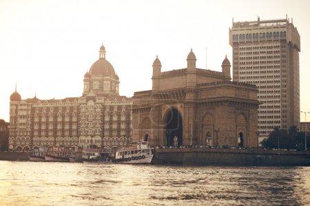 Gateway and hotel Taj Mahal, Mumbai, India...
