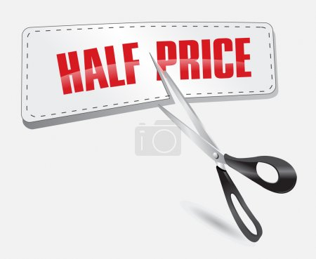 Illustration for Half price sticker with scissors vector illustration - Royalty Free Image