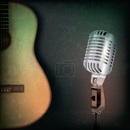 abstract music background with retro microphone and guitar