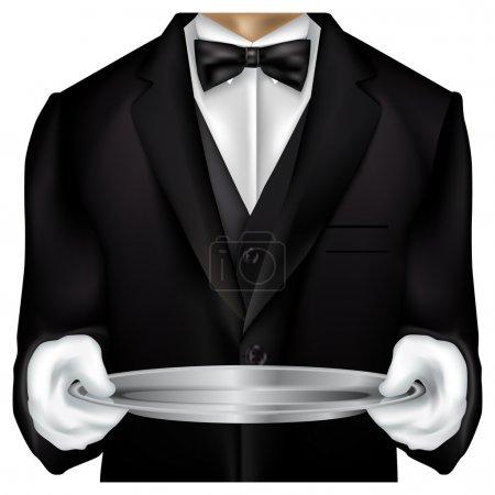 Torso de mayordomo vestido con esmoquin