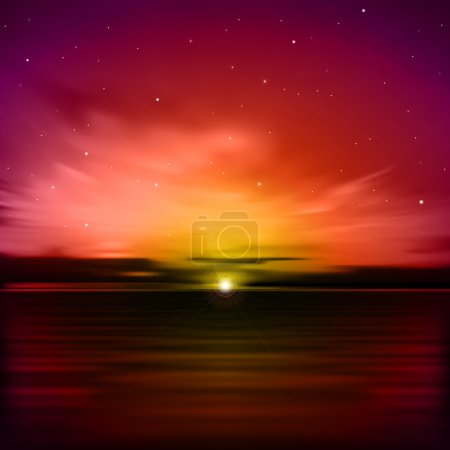 Illustration for Abstract red nature background with clouds and sea sunrise - Royalty Free Image