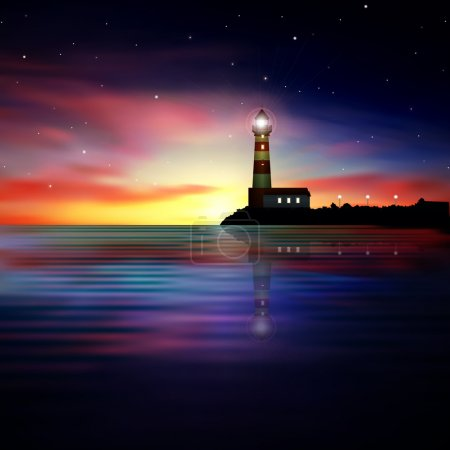 Illustration for Abstract nature background with sea sunrise and lighthouse - Royalty Free Image