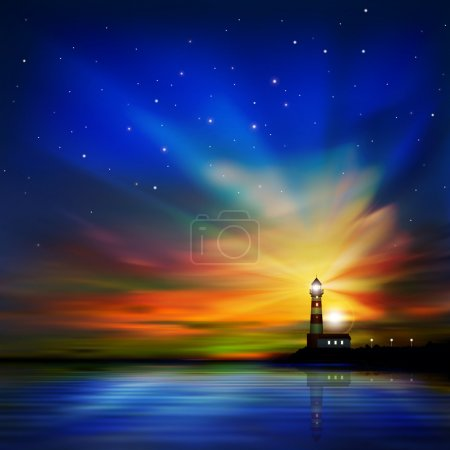 Illustration for Abstract dark sea background with lighthouse and sunset - Royalty Free Image
