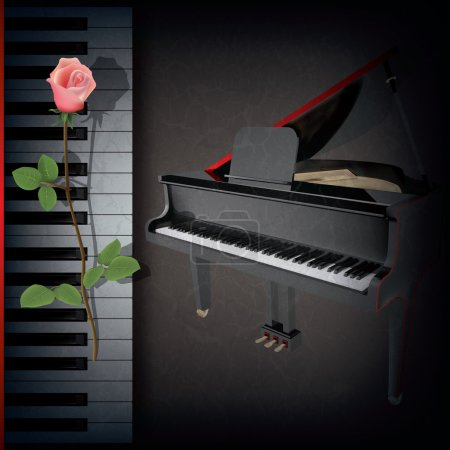 Photo for Abstract grunge music background with red rose and grand piano on black - Royalty Free Image